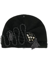 Le Chapeau Crystal And Tessel Embellished Beanie Black