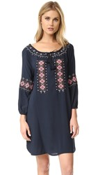 Cupcakes And Cashmere Teddy Embroidered Long Sleeve Dress Ink