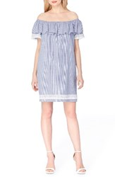 Tahari Women's Ruffle Shift Dress Chambray Ivory
