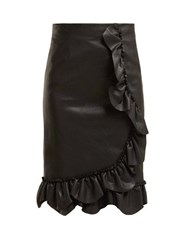 Rebecca Taylor Ruffled Faux Leather Pencil Skirt Black