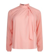 Basler Funnel Neck Bow Blouse Female Pink