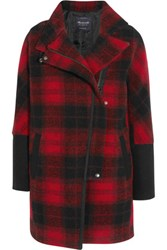 Madewell City Grid Plaid Wool Blend Coat Claret