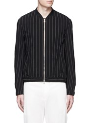 Tomorrowland Stripe Wool Seersucker Blouson Jacket Black