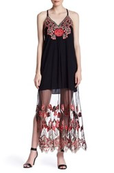 Alice Olivia Sally Sleeveless Embroidered Maxi Dress Gray