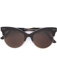 Bottega Veneta Woven Panel Round Frame Sunglasses Brown