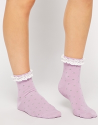 Asos Spot Ankle Socks With Lace Trim Purple