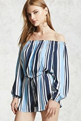Forever 21 Contemporary Striped Romper Blue Navy