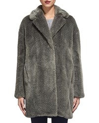 Whistles Faux Fur Cocoon Coat Gray