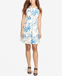 American Living Floral Fit And Flare Dress White Blue