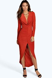 Boohoo Slinky Ruched Long Sleeve Maxi Dress Rust