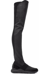Y 3 Suede Neoprene And Stretch Leather Over The Knee Boots Black