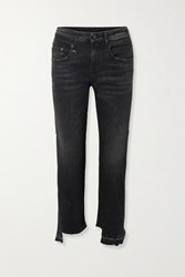 R 13 R13 Boy Straight Frayed Mid Rise Jeans Black
