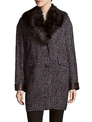 Dawn Levy Kaba Faux Fur Trimmed Coat Navy