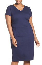 Sejour Plus Size Women's Ponte V Neck Ponte Sheath Dress Navy Peacoat