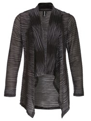 Izabel London Open Weave Waterfall Cardigan Grey