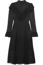 Temperley London Prairie Ruffled Chiffon Trimmed Guipure Lace Midi Dress Black