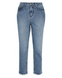 Jaeger Raw Hem Cropped Jeans Blue