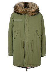Mr And Mrs Italy Lined Parka Coat Men Cotton Leather Polyamide Feather Xs Green
