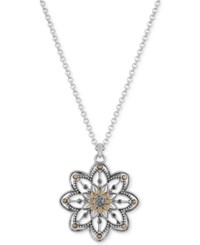 Lucky Brand Two Tone Openwork Floral Pendant Necklace Silver Gold