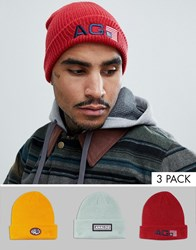 Analog Beanie 3 Pack In Red Yellow Grey Multi