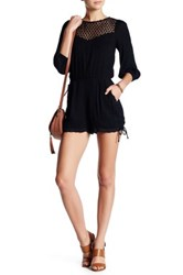 Endless Rose Woven Lace Trim Romper Black