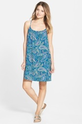 Sun And Shadow Print Trapeze Dress Juniors Blue