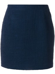 Alessandra Rich Fitted Mini Skirt Blue