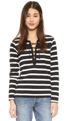 Scotch And Soda Maison Scotch Sporty Long Sleeve Lace Up Tee Black White Stripe