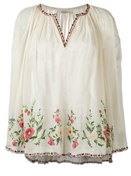 Mes Demoiselles Embroidered Smock Blouse Women Cotton 1 Nude Neutrals