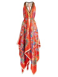 Etro Tassel Trim Halterneck Silk Midi Dress Red