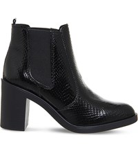 Office Laura Heeled Chelsea Boots Black Snake Leather