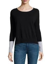 Central Park West Cashmere Colorblock Sweater Black Heather Gray