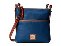 Dooney And Bourke Pebble Leather Letter Carrier Jeans W Tan Trim Cross Body Handbags Blue