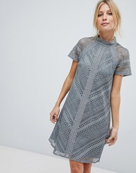 Little Mistress All Over Lace Mini Shift Dress Grey
