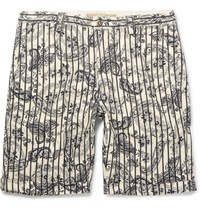 Incotex Printed Linen And Cotton Blend Shorts Navy