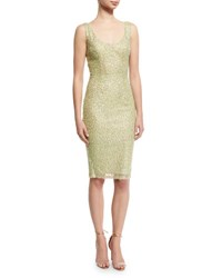 French Connection Celia Sequined Sheath Dress Light Green