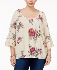 Eyeshadow Trendy Plus Size Bell Sleeve Blouse Multi Floral