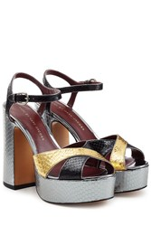Marc By Marc Jacobs Embossed Leather Platform Sandals Multicolor