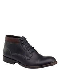 Johnston And Murphy Selby Cap Toe Leather Boots Black