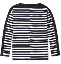 Loewe Boat Neck Striped Wool Sweater Navy