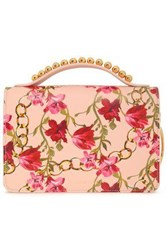 Mother Of Pearl Woman Embellished Printed Leather Shoulder Bag Baby Pink