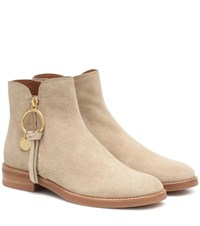 See By Chloe Louise Flat Suede Ankle Boots Beige