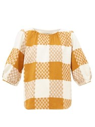 Ace And Jig Goldie Balloon Sleeve Checked Cotton Blouse Beige Multi