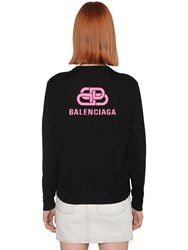 Balenciaga Back Logo Wool Knit Crewneck Sweater Black