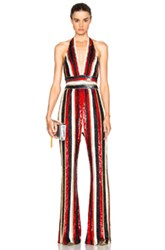 Zuhair Murad Embroidered Stripe Jumpsuit In Metallics Red Stripes