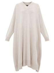 Eskandar V Neck Cashmere Midi Dress Light Grey