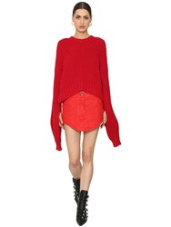 Zadig And Voltaire Rib Knit Sweater W Extra Long Sleeves Red