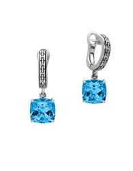 Effy Topaz And 0.925 Sterling Silver Drop Earrings Blue