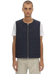 Jacquemus Quilted Wool Zip Up Vest Navy