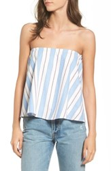 Wayf Women's Strapless Top Blue Stripe